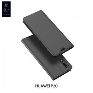 เคส Huawei P20 เคสฝาพับเกรดพรีเมี่ยม เย็บขอบ พับเป็นขาตั้งได้ สีเทา (Dux Ducis)