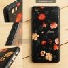 เคส Huawei P8 Lite เคสอะครีลิค ขอบยางสีดำ พิมพ์ลายนูน (Flower) สีดำ