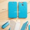 เคส Huawei P9 เคสหนังฝาพับ + แผ่นเหล็กป้องกันตัวเครื่อง (บางพิเศษ) สีฟ้า