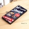 เคส iPhone 7 / 8 เคสขอบยางดำ + กระจกกันรอยครอบทับหลังเคส เกรดพรีเมี่ยม พิมพ์ลาย แบบที่ 1