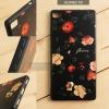 เคส Huawei P8 เคสอะครีลิค ขอบยางสีดำ พิมพ์ลายนูน (Flower) สีดำ