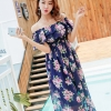 MAXI DRESS ชุดเดรสยาว พร้อมส่ง สีกรม ลายดอกกุหลาบสีชมพูหวาน น่ารักมากๆค่ะ
