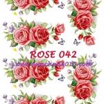 ROSE042 กระดาษแนพกิ้น 21x30ซม. ลายกุหลาบ