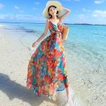 maxi dress ชุดเดรสยาว พร้อมส่ง สีโทนสดใส คอวีลึก สายเดี่ยว ลายดอกไม้สีโทนส้ม