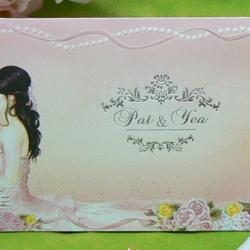 > การ์ดแต่งงานแบบพับ ขนาด 4x7.5 นิ้ว สีชมพู รหัส 91911