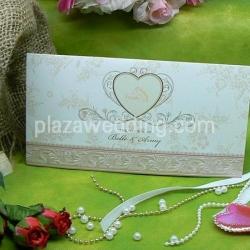 > การ์ดแต่งงานแบบพับ ขนาด 4x7.5 นิ้ว สีครีม รหัส 91792