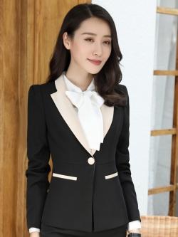 สื้อสูทแฟชั่น พร้อมส่ง เสื้อสูท สีดำ แต่งคอปกด้วยผ้ามันเงาสีครีม ผ้าคอตตอน 100 % เนื้อดี คุณภาพงานพรีเมี่ยม