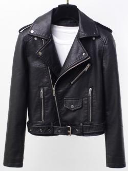 เสื้อแจ็คเก็ต เสื้อหนังแฟชั่น พร้อมส่ง สีดำ หนังด้าน แขนยาว ตัวสั้น หนัง PU คอปก ดีเทลด้วยปกโฉบเฉี่ยว