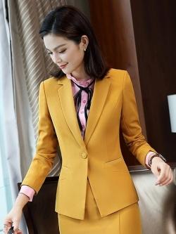 เสื้อสูทแฟชั่น เสื้อสูทตัวยาว พร้อมส่ง สีเหลือง คอปก แขนยาว ติดกระดุมเม็ดเดียวเก๋ หัวไหล่เสริมฟองน้ำ มีซับในทั้งตัว ไม่มีกระเป๋า เนื้อผ้าดี งานสวยเหมือนแบบแน่นอนค่ะ