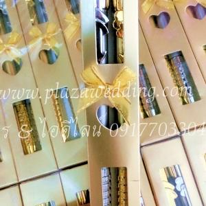 ปากกาลูกลื่น สีเงิน-สีทอง มีกล่อง มี 2 ด้าม
