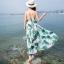 maxi dress สีพื้นขาว สวยมากๆค่ะ ใส่สบาย ลายใบไม้สีเขียว คอวีลึก สายเดี่ยว เอวล็อคผู้เชือกด้านหลัง thumbnail 5