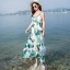 maxi dress สีพื้นขาว สวยมากๆค่ะ ใส่สบาย ลายใบไม้สีเขียว คอวีลึก สายเดี่ยว เอวล็อคผู้เชือกด้านหลัง thumbnail 1