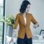เสื้อสูทแฟชั่น เสื้อสูทสำหรับผู้หญิง พร้อมส่ง สีน้ำตาล คอปก แขนพับสามส่วนลายทางเก๋ หัวไหล่ยกนิดๆ thumbnail 3