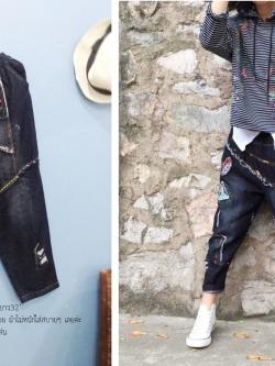 กางเกงยีนส์สีดำดีไซน์สวยเปรี้ยวเซอร์