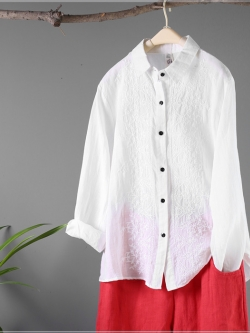เสื้อลินินปักลายคอเชิ้ต สีขาว