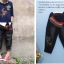 กางเกงยีนส์สีดำคาดกำมะหยี่ thumbnail 1