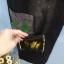 กางเกงยีนส์สีดำคาดกำมะหยี่ thumbnail 3