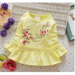 **เดรสสีเหลืองลายกิ่งดอกไม้ตามรูป   เหลือง   size 100-130   4ชุด/แพ๊ค   เฉลี่ย 140/ชุด