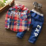 **ชุดเซ็ตเสื้อเชิ๊ตกางเกงยีนต์ ลายสก็อตสีแดง Cowboy ตามรูป size: S-XL (4pcs/pack) | 4ชุด/แพ๊ค | เฉลี่ย 270/ชุด
