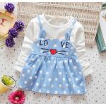 **เดรสเอี๊ยมลายจุดสีฟ้า Love หัวใจ   ฟ้า   S-XL   4ชุด/แพ๊ค   เฉลี่ย 160/ชุด