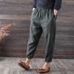 กางเกงลำลอง ลินิน+ฝ้ายเนื้อนิ่ม สีเทาอมเขียว