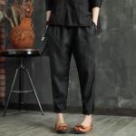 กางเกงลำลอง ลินิน+ฝ้ายเนื้อนิ่ม สีดำ