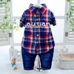 **ชุดเซ็ตเสื้อเชิ๊ตกางเกงยีนต์ สีลายสก็อตน้ำเงินCowboy ตามรูป size: S-XL (4pcs/pack) | 4ชุด/แพ๊ค | เฉลี่ย 270/ชุด