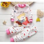 **ชุดเซ็ตนอนผ้านิ่มรูปหมีน้อยคอชมพูลายจุดชมพู size:80-90-100 (3 set/pack) | 3ชุด/แพ๊ค | เฉลี่ย 130/ชุด