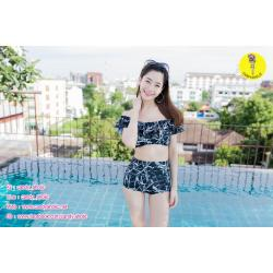 [Free size] ชุดว่ายน้ำทูพีชบราเปิดไหล่ รุ่น Laila ลายหินอ่อน สีดำ
