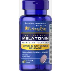 PURITAN'S PRIDE :: Bi-Layered Melatonin 5 mg - 60 Tablets ไบเลเยอร์ เมลาโทนิน รูปแบบทำงาน 2 ระดับ ผ่อนคลาย แก้ปัญหา นอนไม่หลับ ลดปัญหาการตื่นกลางดึก