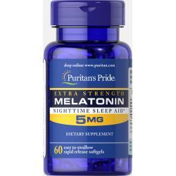 ลด 30 % PURITAN'S PRIDE :: Extra Strength Melatonin 5 mg เมลาโทนิน 5 มิลลิกรัม 60-120 เม็ด ผ่อนคลาย แก้ปัญหา นอนไม่หลับ (เลือกขนาดด้านใน)