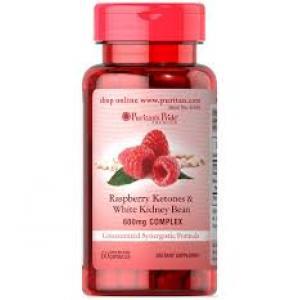 Puritan's Pride Raspberry Ketones and White Kidney Bean 600mg Complex / 60 Capsules