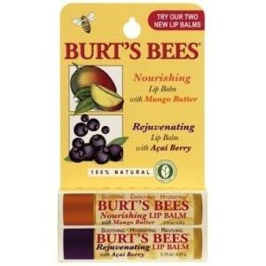 BURT'S BEES :: Burt's bee Mango & Acai Berry Lip Balm COMBO pack รวมสองลิปบาล์มในแพ็คเดียว เนยมะม่วง และ อาซาอี เบอรี่