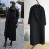 CW6107007 เสื้อโค้ทเกาหลีตัวยาวผ้าผสมขนสัตว์ฤดูหนาวสีดำปกสูท