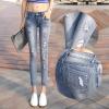 JW6105002 กางเกงยีนส์สาวเกาหลี สียีนส์อ่อนขาดเซอร์ขาเดฟ