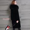 CW6107005 เสื้อโค้ทเกาหลีตัวยาวผ้าผสมขนสัตว์ฤดูหนาว สีดำแต่งเฟอร์ขนอุ่นมากตัวยาว