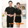 F6103006 เสื้อฟอร์มพนักงานร้านอาหารกาแฟโรงแรม แขนสั้นผ้าฝ้ายคอจีน