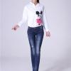 JW6011002 กางเกงยีนส์เอวต่ำ สไตร์สาวเกาหลี ขาเดป เข้ารูป (พรีออเดอร์)