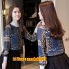 UM6103004 เสื้อแฟชั่นผ้าชีฟองเกาหลีฤดูร้อนคอสูงลายวินเทจย้อนยุค