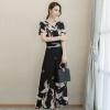 UP6011008 ชุดหญิงฤดูร้อน 2017คอวี แฟชั่นใหม่พิมพ์เอวเสื้อชีฟอง + เอวสูงกางเกงขากว้าง 2 ชุด