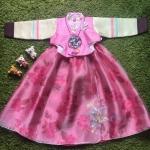 Hanbok Girl ฮันบกผ้าไหมชาววังสีหวาน สำหรับเด็ก 6 ขวบ