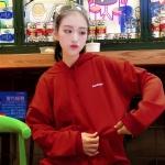 ๋KW6103001เสื้อกันหนาวมีฮูดสีแดงสด ใส่ลำลองผ้าไม่หน้ามาก งานเกาหลี