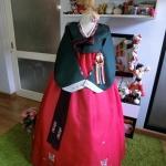 """Hanbok เขียวแดงปักมือดิ้นทอง อก 40"""" สูง 160"""