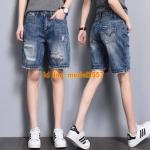 JY6106004 กางเกงยีนส์เกาหลีขาสั้นฤดูร้อนสบายๆ ยีนส์เกาหลีเอวสูง