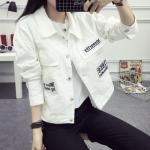 FW6011002 เสื้อยีนส์แจ็กเก็ตยีนส์สั้นสีขาวคลุมกันหนาวใบไม้ร่วง