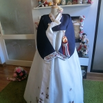 "Hanbok สีน้ำเงินปักมือดิ้นทอง ""S"" อก 35"" สูง 155"