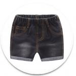 **กางเกงยีนต์สีดำขาสั้นกระเป๋าหลัง size= 90-130 | 5ตัว/แพ๊ค | เฉลี่ย 150/ตัว