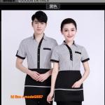 F6104003 เสื้อฟอร์มพนักงานร้านอาหารกาแฟโรงแรม แขนสั้น