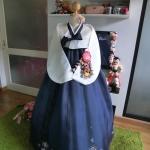 """Hanbok สีน้ำเงินกระโปรงระบาย ปักมือ อก 37"""" สูง 160"""