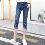 JH6101001 กางเกงยีนส์ สไตร์สาวเกาหลี ขา 5 ส่วน แต่งลูกปัด